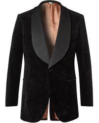 Gucci Faille-trimmed Cotton And Linen-blend Velvet Tuxedo Jacket - Black