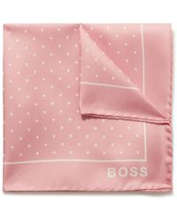BOSS by HUGO BOSS Polka-dot Silk-twill Pocket Square - Pink