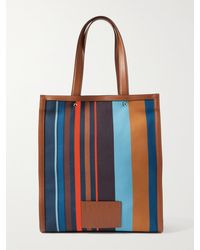 Paul Smith Leather-trimmed Striped Recycled Canvas Tote Bag - Multicolour