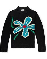 YMC Intarsia Wool Jumper - Black