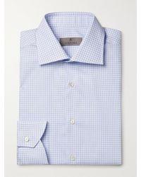 Canali Cutaway-collar Micro-gingham Cotton Shirt - Blue