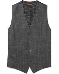 Barena - Grey Slim-fit Prince Of Wales Checked Wool Waistcoat - Lyst