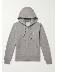 Acne Studios Ferris Logo-appliquéd Mélange Fleece-back Cotton-jersey Zip-up Hoodie - Grey