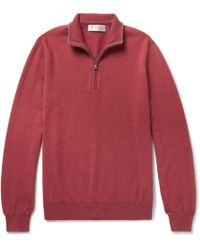 Brunello Cucinelli - Contrast-tipped Cashmere Half-zip Sweater - Lyst