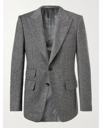 Tom Ford - Grey Shelton Slim-fit Herringbone Wool-blend Blazer - Lyst