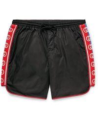 Gucci Slim-fit Mid-length Logo Webbing-trimmed Swim Shorts - Black