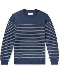 Albam Striped Cotton Jumper - Blue
