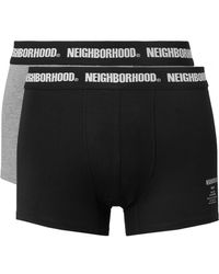 Neighborhood Two-pack Stretch Cotton-blend Boxer Briefs - Black