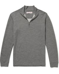 Orlebar Brown Neilson Merino Wool-blend Half-zip Sweatshirt - Gray