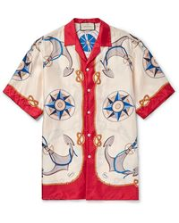 Gucci Camp-collar Printed Silk-twill Shirt - Red