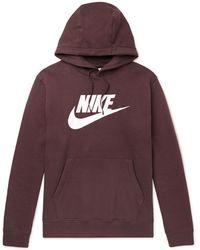 Nike Sportswear Club Logo-print Fleece-back Cotton-blend Jersey Hoodie - Brown