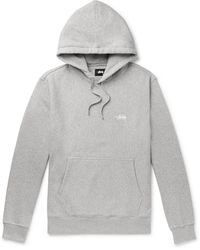 Stussy Logo-embroidered Mélange Fleece-back Cotton-jersey Hoodie - Gray