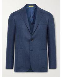 Canali Kei Slim-fit Unstructured Cotton-blend Blazer - Blue