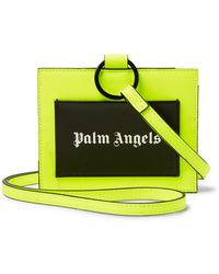 Palm Angels Iconic Leather-trimmed Neon Pu Cardholder - Yellow