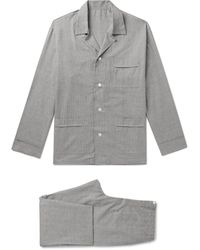 Anderson & Sheppard Prince Of Wales Checked Brushed-cotton Pajama Set - Gray