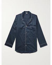 Zimmerli Piped Striped Cotton Pyjama Set - Blue