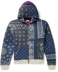 Kapital Bandana-print Cotton-jersey And Quilted Shell Zip-up Hoodie - Blue