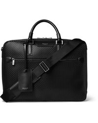 Serapian Leather-trimmed Stepan Coated-cotton Briefcase - Black