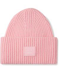 Acne Studios Pansy Logo-appliquéd Ribbed Wool Beanie - Pink