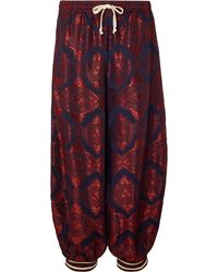 Gucci Cropped Wide-leg Panelled Jacquard And Cotton-blend Trousers - Red