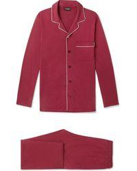 Ermenegildo Zegna - Piped Mulberry Silk And Cotton-blend Pyjama Set - Lyst