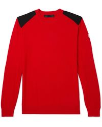 Canada Goose Dartmouth Cordura-panelled Merino Wool Sweater - Red