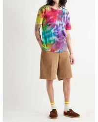 The Elder Statesman Paper Rainbow Tie-dyed Cotton And Cashmere-blend T-shirt - Purple