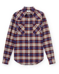 CELINE HOMME Checked Cotton-flannel Shirt - Red