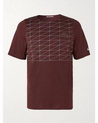 Nike Rise 365 Run Mesh-panelled Dri-fit T-shirt - Red