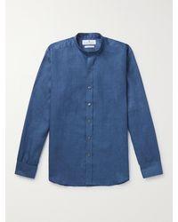 Turnbull & Asser Grandad-collar Linen Shirt - Blue