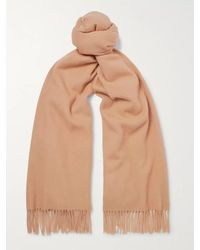 Mulberry Logo-embroidered Fringed Lambswool Scarf - Brown
