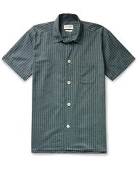 Oliver Spencer Townsend Striped Organic Cotton Pyjama Shirt - Green