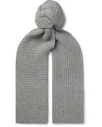 MR P. Ribbed Cashmere Scarf - Grey