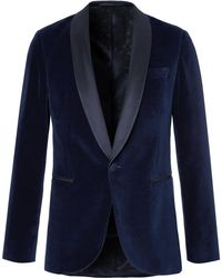 BOSS   Blue Nemir Shawl-collar Cotton-velvet And Silk Tuxedo Jacket   Lyst