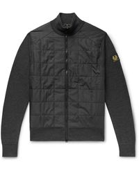 Belstaff New Kelby Slim-fit Panelled Wool And Quilted Shell Zip-up Cardigan - Gray