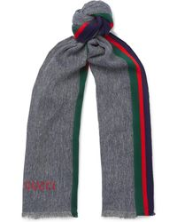 Gucci - Webbing-trimmed Cotton And Linen-blend Scarf - Lyst