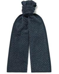 Blue Blue Japan Yamamichi Herringbone Wool-blend Jacquard Scarf - Blue