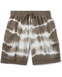 Altea Tie-dyed Linen Drawstring Shorts - Green
