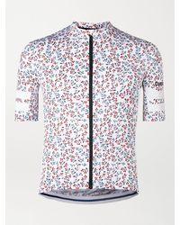 Café du Cycliste Floriane Floral-print Mesh-trimmed Cycling Jersey - White