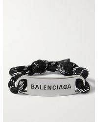 Balenciaga Silver-plated And Cord Bracelet - Black