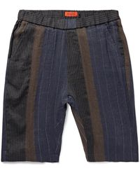 Barena Slim-fit Patchwork Striped Linen And Cotton-blend Shorts - Blue