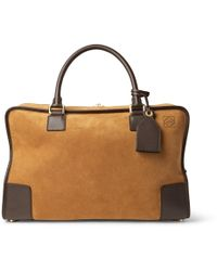 Loewe - Amazona 44 Leather-trimmed Suede Holdall - Lyst
