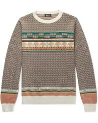 A.P.C. - Fair Isle Cotton Sweater - Lyst