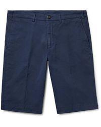Canali Cotton-blend Twill Shorts - Blue