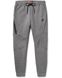 Nike Slim-fit Tapered Cotton-blend Tech Fleece Joggers - Gray