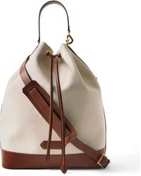 Tom Ford Leather-trimmed Canvas Drawstring Bag - White