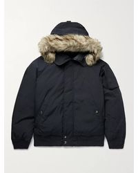 Polo Ralph Lauren Faux Fur-trimmed Logo-embroidered Shell Down Hooded Bomber Jacket - Blue