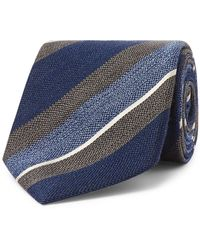 Bigi 8cm Striped Silk And Wool-blend Tie - Blue