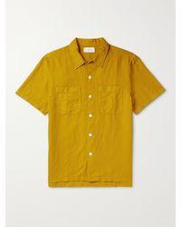 MR P. Garment-dyed Cotton And Linen-blend Shirt - Yellow