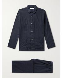 Desmond & Dempsey Brushed Cotton-flannel Pyjama Set - Blue